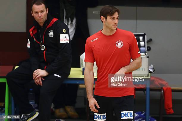Head coach Dagur Sigurdsson watches Uwe Gensheimer during a Germany training session at Germinal during the 25th IHF Men's World Championship 2017 on...