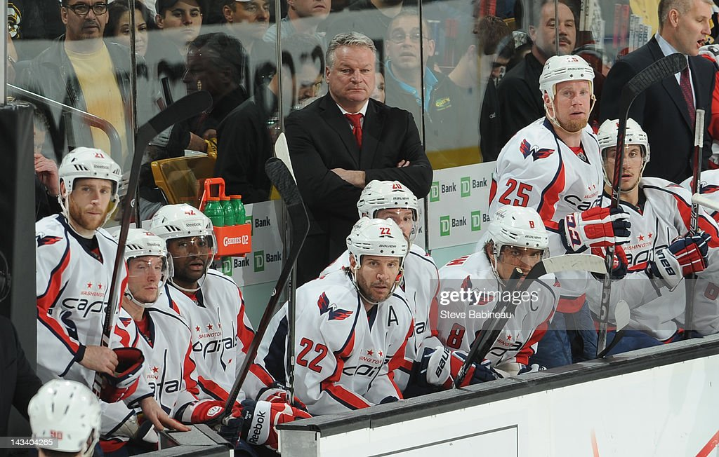 Head Coach <a gi-track='captionPersonalityLinkClicked' href=/galleries/search?phrase=Dale+Hunter&family=editorial&specificpeople=650763 ng-click='$event.stopPropagation()'>Dale Hunter</a> of the Washington Capitals watches the play against the Boston Bruins in Game Seven of the Eastern Conference Quarterfinals during the 2012 NHL Stanley Cup Playoffs at TD Garden on April 25, 2012 in Boston, Massachusetts.