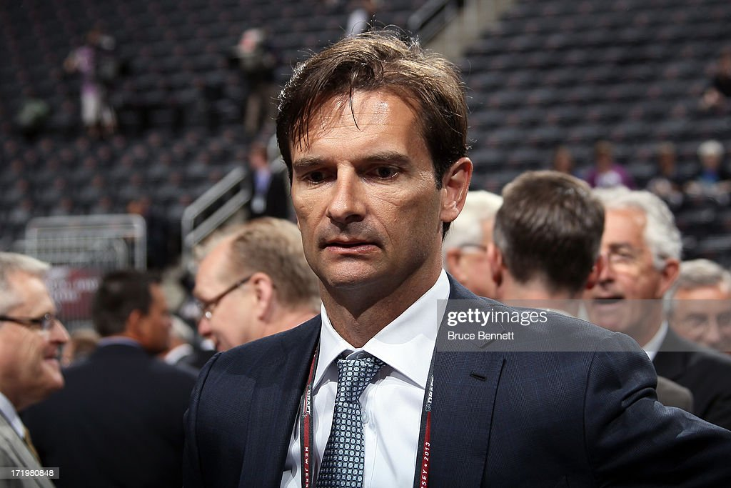 Head coach <a gi-track='captionPersonalityLinkClicked' href=/galleries/search?phrase=Dallas+Eakins&family=editorial&specificpeople=714367 ng-click='$event.stopPropagation()'>Dallas Eakins</a> of the Edmonton Oilers looks on during the 2013 NHL Draft at the Prudential Center on June 30, 2013 in Newark, New Jersey.