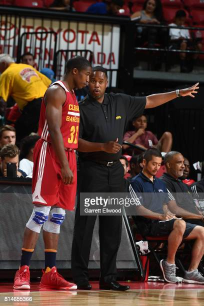 Head Coach Damon Jones and Gerald Beverly of the Cleveland Cavaliers talk during the game against the Toronto Raptors on July 14 2017 at the Thomas...