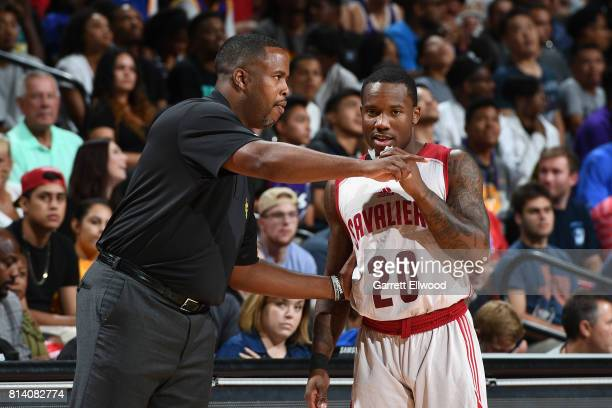 Head Coach Damon Jones and Kay Felder of the Cleveland Cavaliers talk during the game against the Los Angeles Lakers on July 13 2017 at the Thomas...