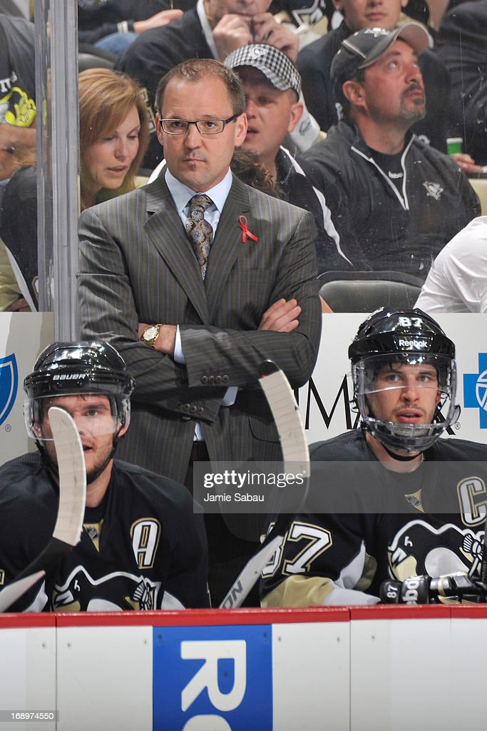 Head coach <a gi-track='captionPersonalityLinkClicked' href=/galleries/search?phrase=Dan+Bylsma&family=editorial&specificpeople=2221854 ng-click='$event.stopPropagation()'>Dan Bylsma</a> of the Pittsburgh Penguins watches his team play the Ottawa Senators in Game Two of the Eastern Conference Semifinals of the 2013 Stanley Cup Playoffs on May 17, 2013 at CONSOL Energy Center in Pittsburgh, Pennsylvania. Pittsburgh defeated Ottawa 4-3.