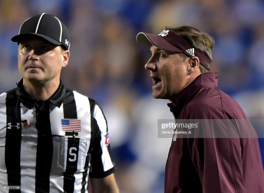 Head coach Dan Mullen of the Mississippi State Bulldogs questions a first quarter call during their game against the Brigham Young Cougars Edwards Stadium on October 14, 2016 in Provo Utah.