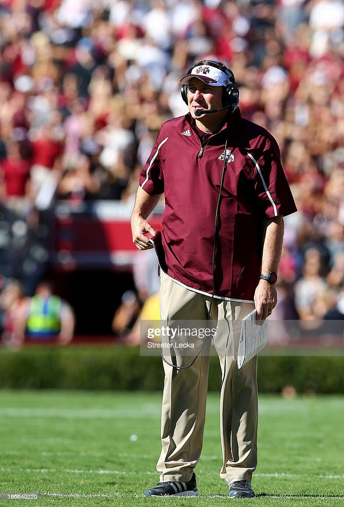 Head coach <a gi-track='captionPersonalityLinkClicked' href=/galleries/search?phrase=Dan+Mullen&family=editorial&specificpeople=5539578 ng-click='$event.stopPropagation()'>Dan Mullen</a> of the Mississippi State Bulldogs watches on from the sidelines during their game against the South Carolina Gamecocks at Williams-Brice Stadium on November 2, 2013 in Columbia, South Carolina.