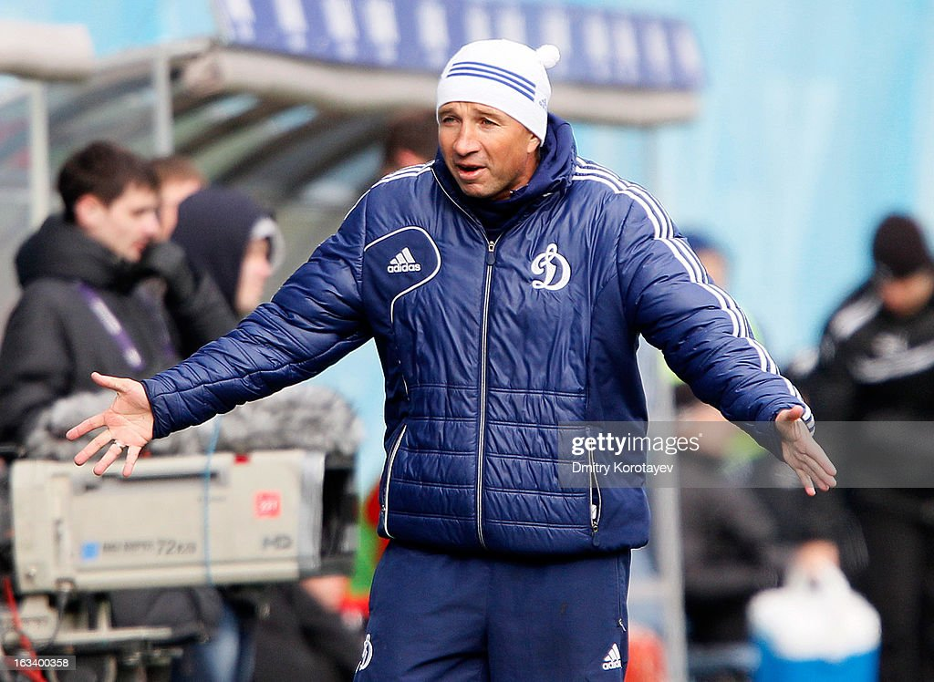 Head coach Dan Petrescu of FC Dynamo Moscow celebrates after his team wins the Russian Premier League match between FC Dynamo Moscow and FC Lokomotiv Moscow at the Arena Khimki Stadium on March 09, 2013 in Khimki, Russia.