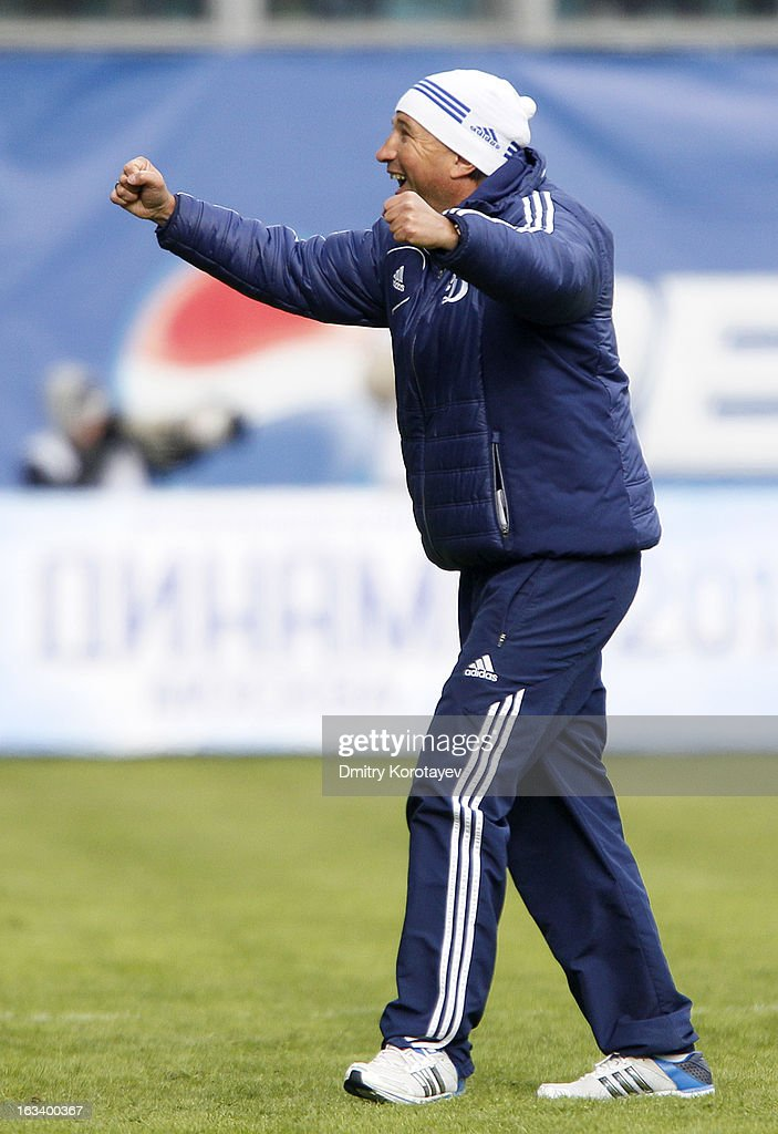 Head coach Dan Petrescu of FC Dynamo Moscow celebrates his team winning he Russian Premier League match between FC Dynamo Moscow and FC Lokomotiv Moscow at the Arena Khimki Stadium on March 09, 2013 in Khimki, Russia.