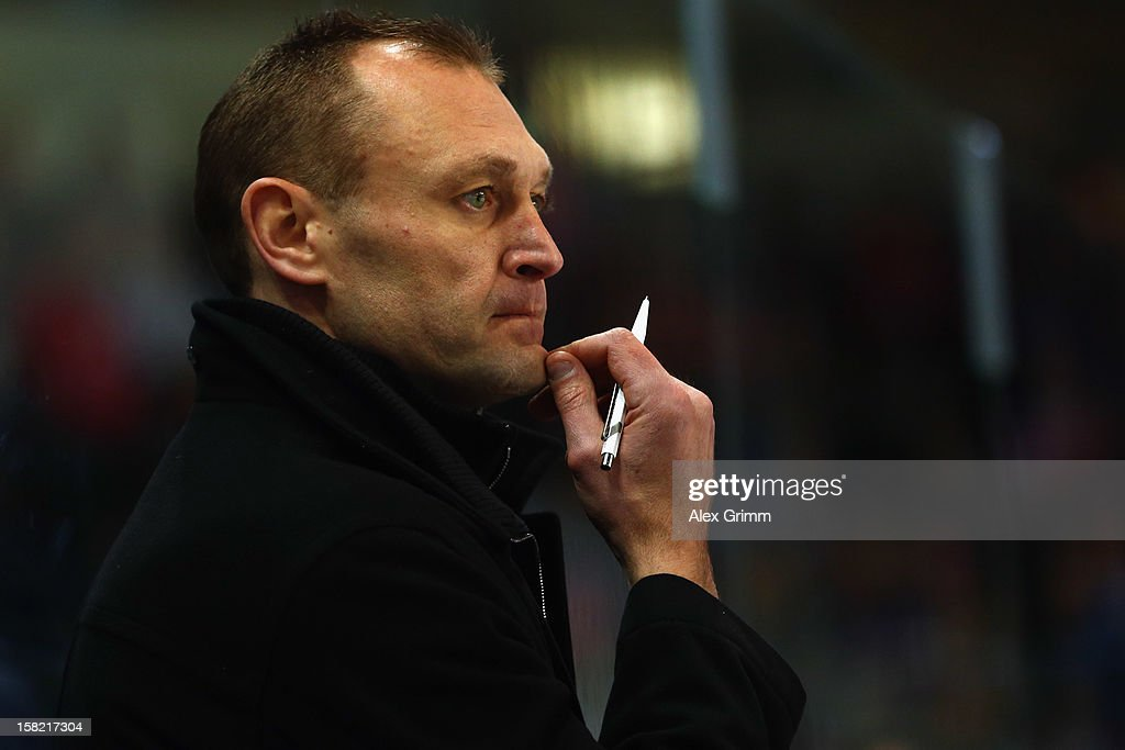 Head coach Dan Ratushny of Straubing reacts during the DEL match between Thomas Sabo Ice Tigers and Straubing Tigers at Arena Nuernberger Versicherung on December 11, 2012 in Nuremberg, Germany.