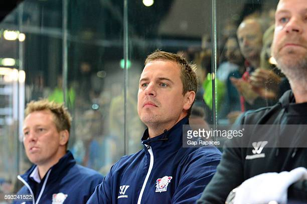 Head coach Dan Tangnes of Linkoping HC during the Champions Hockey League match between Gap Rapaces and Linkoping HC at Alp'Arena on August 21 2016...