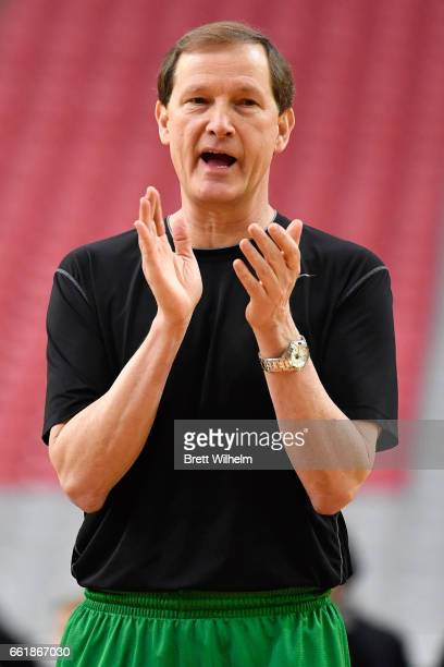Head coach Dana Altman of the Oregon Ducks claps during practice ahead of the 2017 NCAA Men's Final Four at University of Phoenix Stadium on March 31...