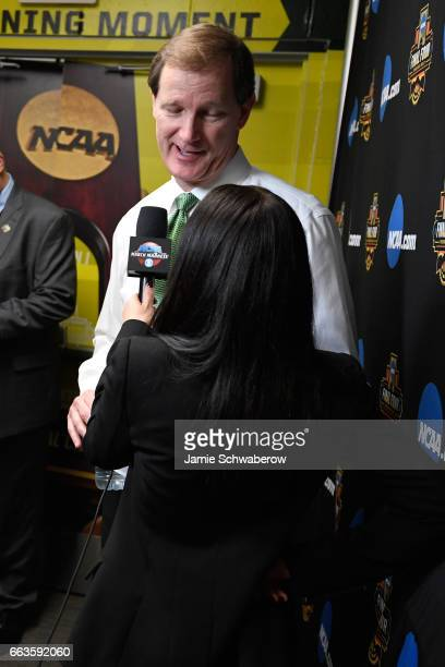 Head coach Dana Altman of the Oregon Ducks gets interviewed following the loss to the North Carolina Tar Heels during the 2017 NCAA Men's Final Four...