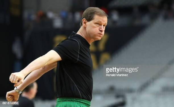 Head coach Dana Altman of the Oregon Ducks looks on during practice ahead of the 2017 NCAA Men's Basketball Final Four at University of Phoenix...