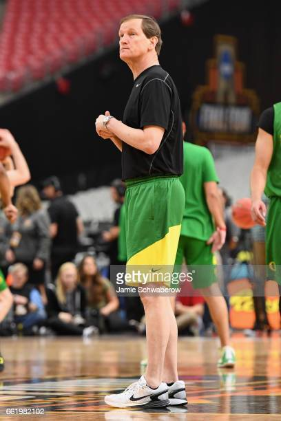 Head coach Dana Altman of the Oregon Ducks looks on during practice ahead of the 2017 NCAA Men's Final Four at University of Phoenix Stadium on March...