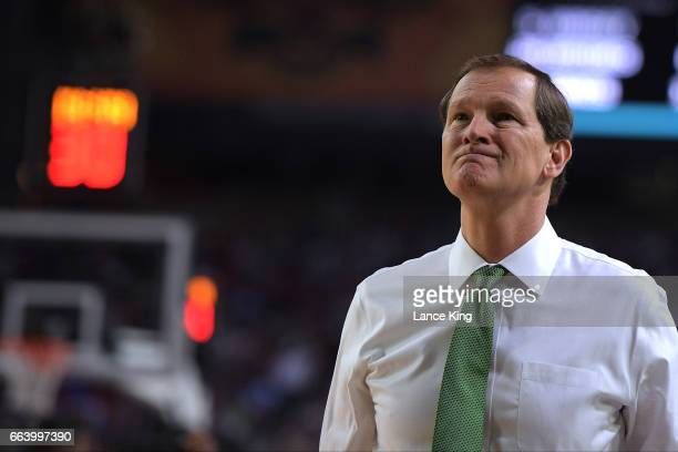 Head coach Dana Altman of the Oregon Ducks looks on during their game against the North Carolina Tar Heels during the 2017 NCAA Men's Final Four...