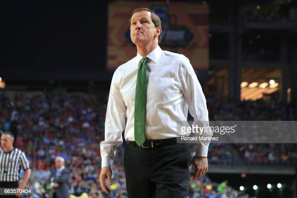 Head coach Dana Altman of the Oregon Ducks looks on in the first half against the North Carolina Tar Heels during the 2017 NCAA Men's Final Four...