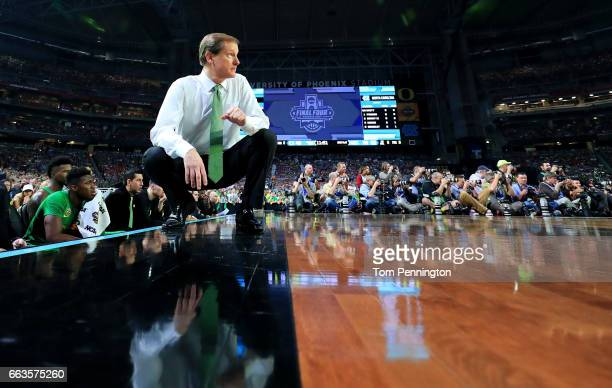 Head coach Dana Altman of the Oregon Ducks looks on in the second half against the North Carolina Tar Heels during the 2017 NCAA Men's Final Four...