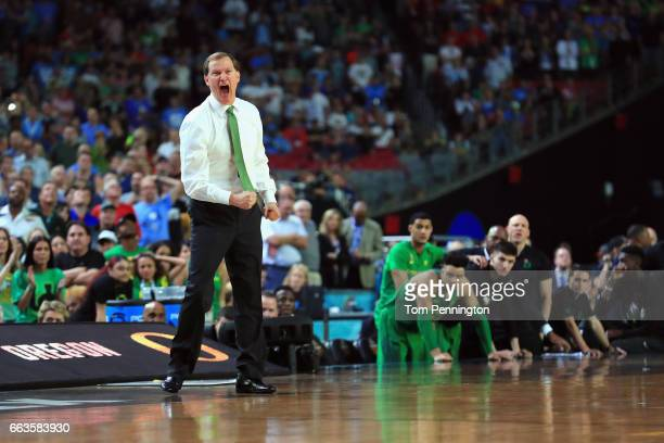 Head coach Dana Altman of the Oregon Ducks reacts late in the second half against the North Carolina Tar Heels during the 2017 NCAA Men's Final Four...