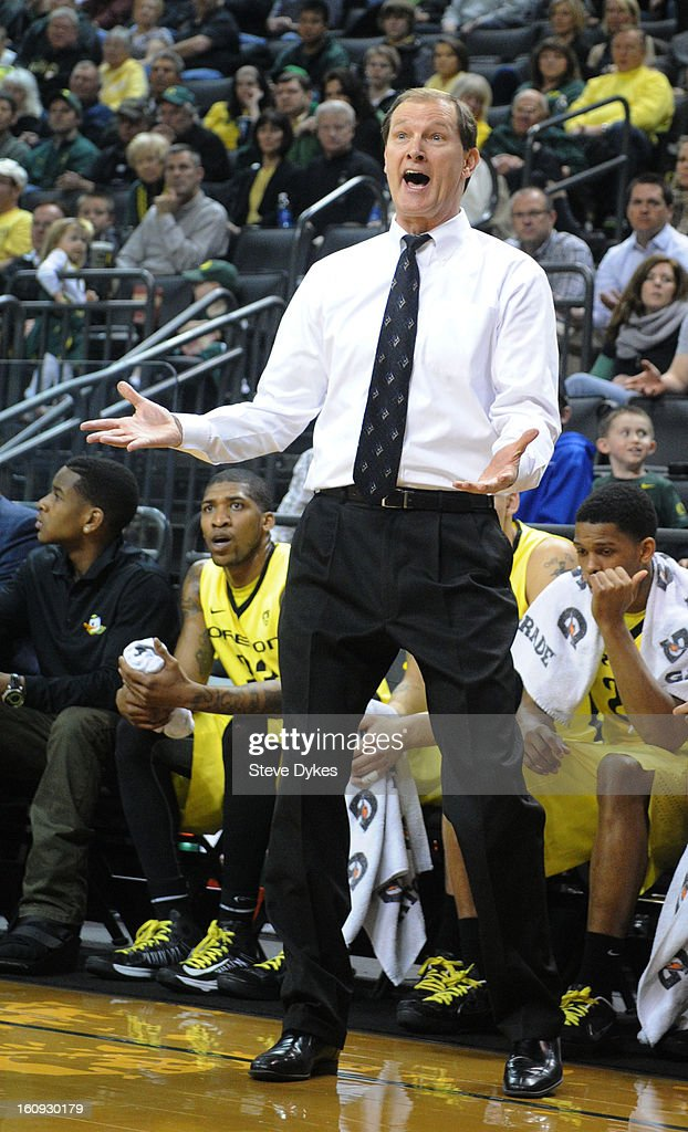 Head coach Dana Altman of the Oregon Ducks reacts to a call in the half of the game against the Colorado Buffaloes at Matthew Knight Arena on February 7, 2013 in Eugene, Oregon. Colorado won the game 48-47.