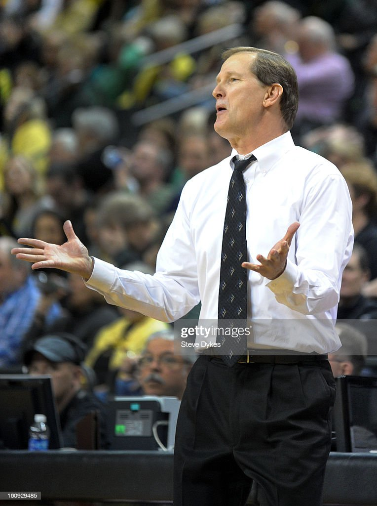 Head coach Dana Altman of the Oregon Ducks reacts to an officials call in the second half of the game against the Colorado Buffaloes at Matthew Knight Arena on February 7, 2013 in Eugene, Oregon. Colorado won the game 48-47.