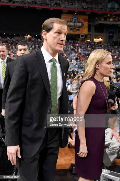 head coach Dana Altman of the Oregon Ducks stands on the court prior to tipoff against the North Carolina Tar Heels during the 2017 NCAA Men's Final...