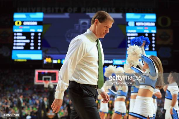 Head coach Dana Altman of the Oregon Ducks walks off the court after being defeated by the North Carolina Tar Heels during the 2017 NCAA Men's Final...