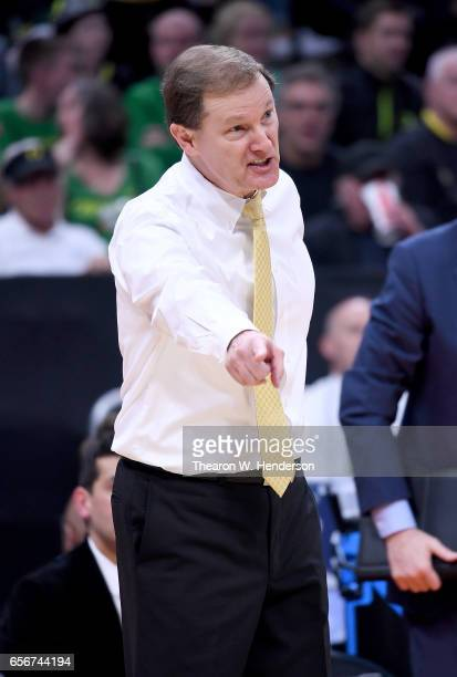 Head coach Dana Altman reacts on the bench against the Rhode Island Rams during the second round of the 2017 NCAA Men's Basketball Tournament at...