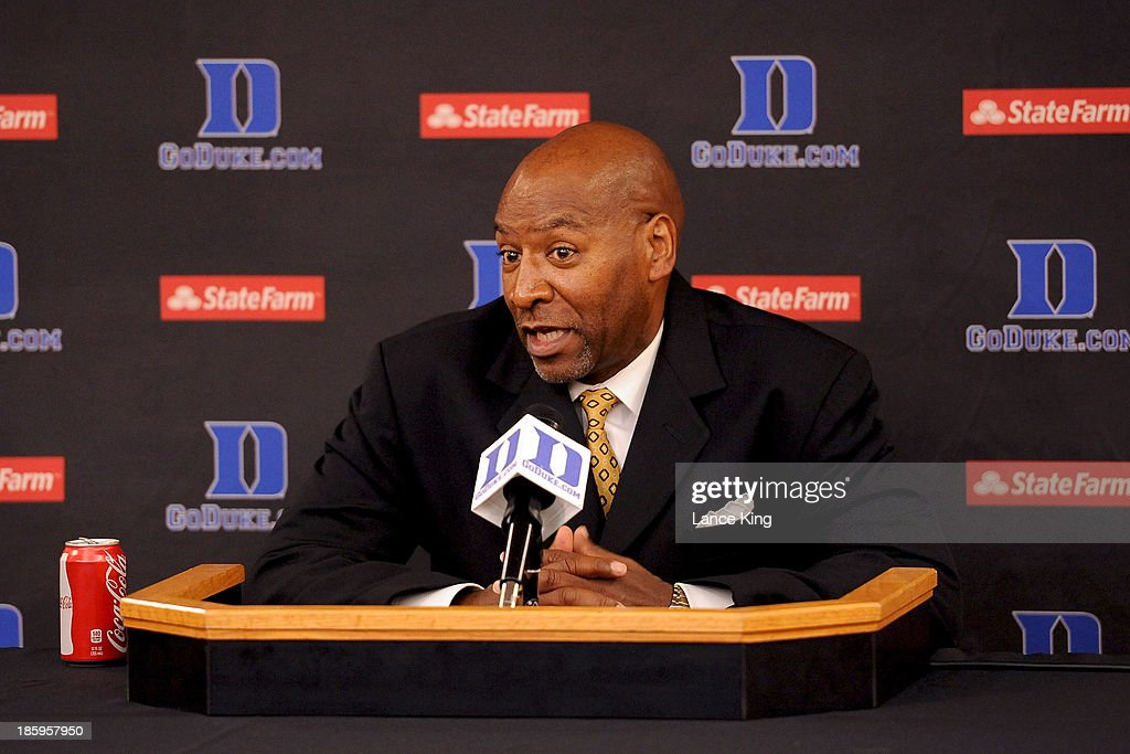 Head Coach Darrell Brooks of the Bowie State Bulldogs addresses the media following their game against the Duke Blue Devils at Cameron Indoor Stadium on October 26, 2013 in Durham, North Carolina. Duke defeated Bowie State 103-67.