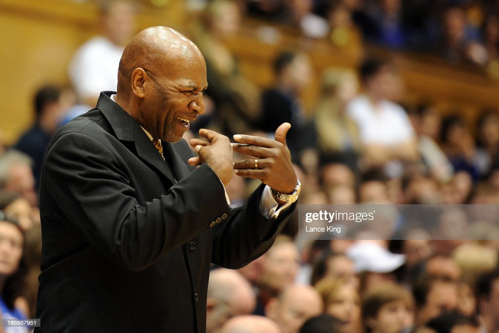 Head Coach Darrell Brooks of the Bowie State Bulldogs reacts to a call during a game against the Duke Blue Devils at Cameron Indoor Stadium on October 26, 2013 in Durham, North Carolina.