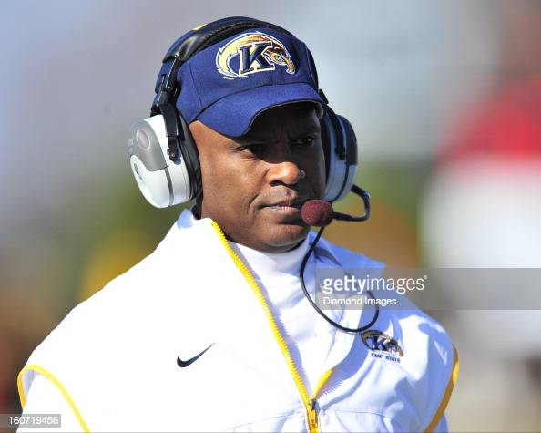 Head coach Darrell Hazell of the Kent State Golden Flashes walks on the sideline during a game with the Bowling Green Falcons at Dolt L Perry Stadium...