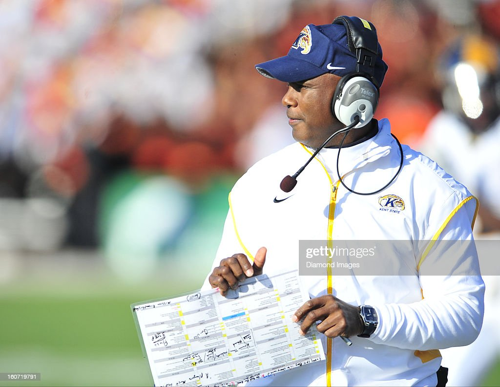 Head coach Darrell Hazell of the Kent State Golden Flashes walks on the sideline during a game with the Bowling Green Falcons at Dolt L. Perry Stadium in Bowling Green, Ohio. The Kent State Golden Flashes won 31-24.