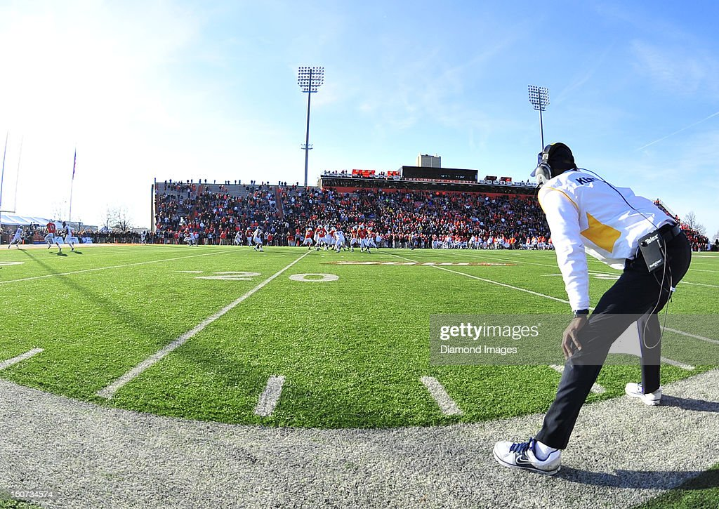 Head coach Darrell Hazell of the Kent State Golden Flashes watches his team from the sideline during the fourth quarter during a game with the Bowling Green Falcons at Dolt L. Perry Stadium in Bowling Green, Ohio. The Kent State Golden Flashes won 31-24.