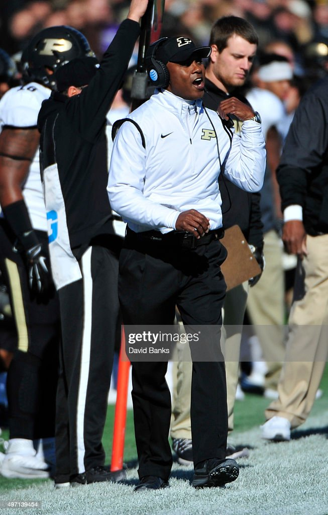 Head coach Darrell Hazell of the Purdue Boilermakers coaches against the Northwestern Wildcats during the first quarter on November 14, 2015 at Ryan Field in Evanston, Illinois.