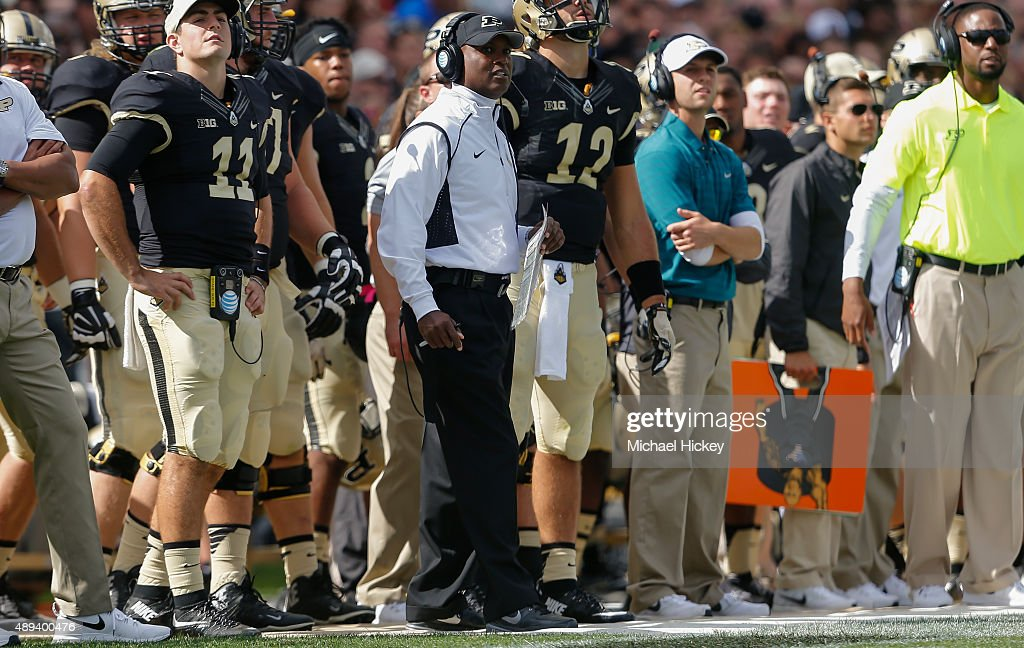 Head coach <a gi-track='captionPersonalityLinkClicked' href=/galleries/search?phrase=Darrell+Hazell&family=editorial&specificpeople=7730325 ng-click='$event.stopPropagation()'>Darrell Hazell</a> of the Purdue Boilermakers is seen during the game against the Virginia Tech Hokies at Ross-Ade Stadium on September 19, 2015 in West Lafayette, Indiana. Virginia Tech defeated Purdue 51-24.