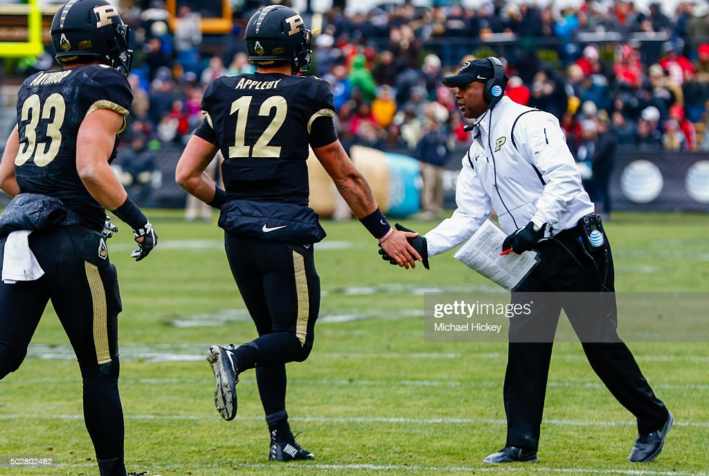Head coach <a gi-track='captionPersonalityLinkClicked' href=/galleries/search?phrase=Darrell+Hazell&family=editorial&specificpeople=7730325 ng-click='$event.stopPropagation()'>Darrell Hazell</a> of the Purdue Boilermakers is seen during the game against the Indiana Hoosiers at Ross-Ade Stadium on November 28, 2015 in West Lafayette, Indiana.