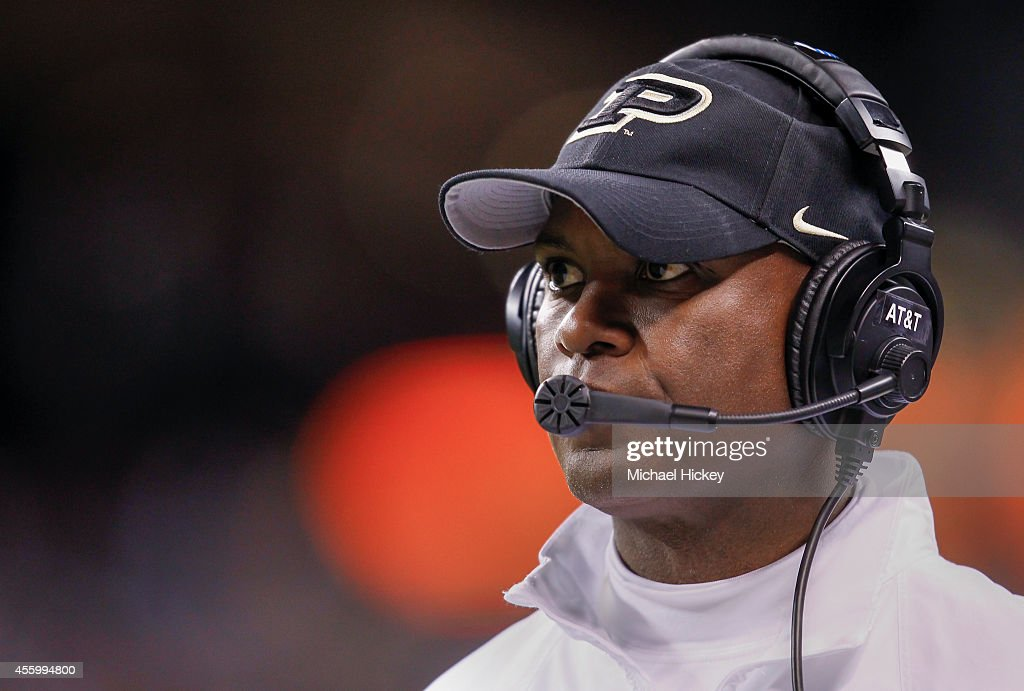 Head coach <a gi-track='captionPersonalityLinkClicked' href=/galleries/search?phrase=Darrell+Hazell&family=editorial&specificpeople=7730325 ng-click='$event.stopPropagation()'>Darrell Hazell</a> of the Purdue Boilermakers is seen on the sidelines during the game against the Notre Dame Fighting Irish at Lucas Oil Stadium on September 13, 2014 in Indianapolis, Indiana.