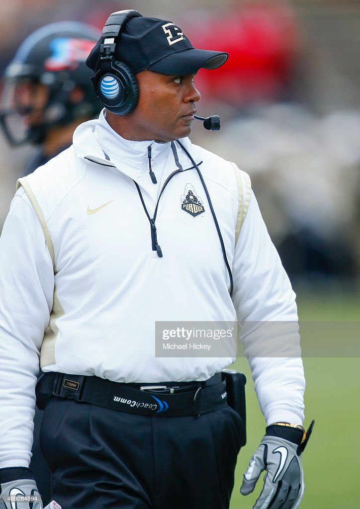 Head coach <a gi-track='captionPersonalityLinkClicked' href=/galleries/search?phrase=Darrell+Hazell&family=editorial&specificpeople=7730325 ng-click='$event.stopPropagation()'>Darrell Hazell</a> of the Purdue Boilermakers is seen on the sidelines during the game against the Wisconsin Badgers at Ross-Ade Stadium on November 8, 2014 in West Lafayette, Indiana.