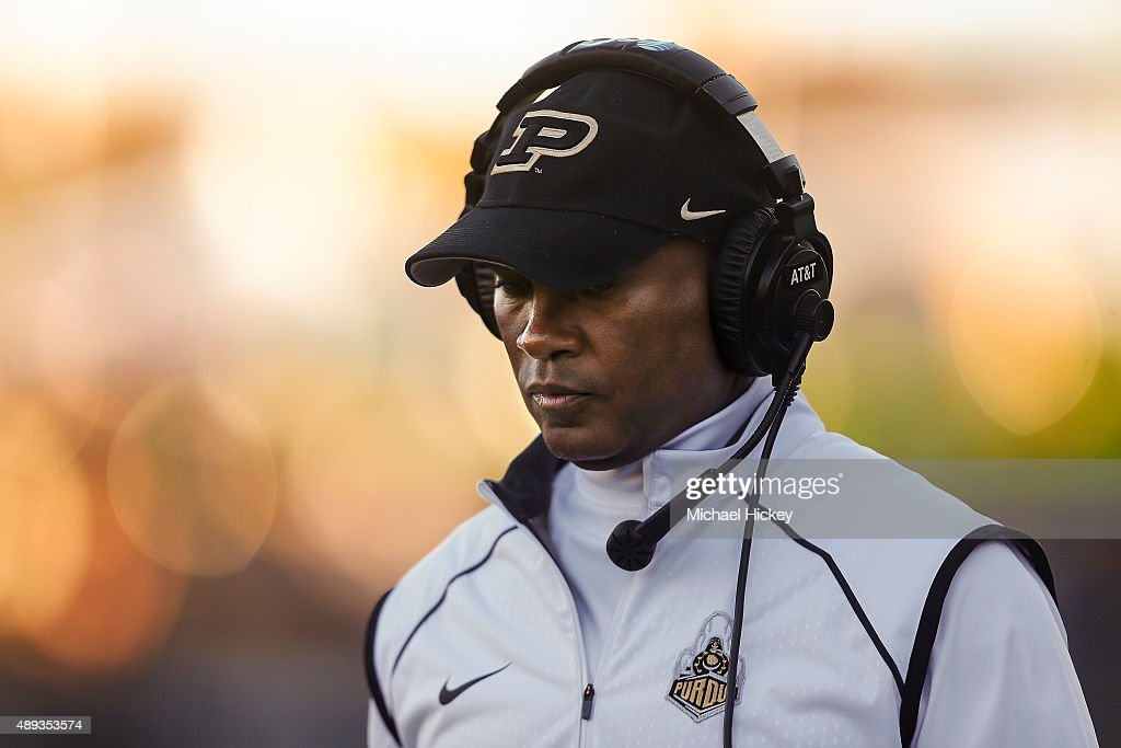Head coach <a gi-track='captionPersonalityLinkClicked' href=/galleries/search?phrase=Darrell+Hazell&family=editorial&specificpeople=7730325 ng-click='$event.stopPropagation()'>Darrell Hazell</a> of the Purdue Boilermakers is seen on the sidelines during the game against the Virginia Tech Hokies at Ross-Ade Stadium on September 19, 2015 in West Lafayette, Indiana. Virginia Tech defeated Purdue 51-24.