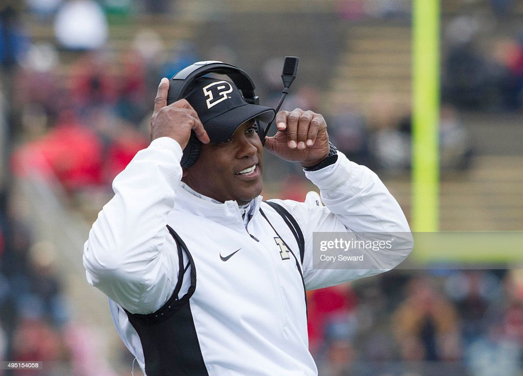 Head Coach Darrell Hazell of the Purdue Boilermakers looks on during the game against the Nebraska Cornhuskers at Ross-Ade Stadium on October 31, 2015 in West Lafayette, Indiana.