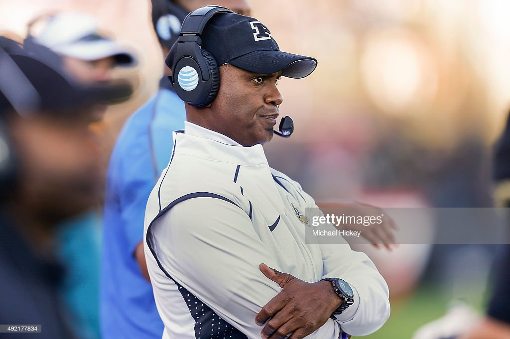 Head coach <a gi-track='captionPersonalityLinkClicked' href=/galleries/search?phrase=Darrell+Hazell&family=editorial&specificpeople=7730325 ng-click='$event.stopPropagation()'>Darrell Hazell</a> of the Purdue Boilermakers looks up at the scoreboard during the game against the Minnesota Golden Gophers at Ross-Ade Stadium on October 10, 2015 in West Lafayette, Indiana. Minnesota defeated Purdue 41-13.