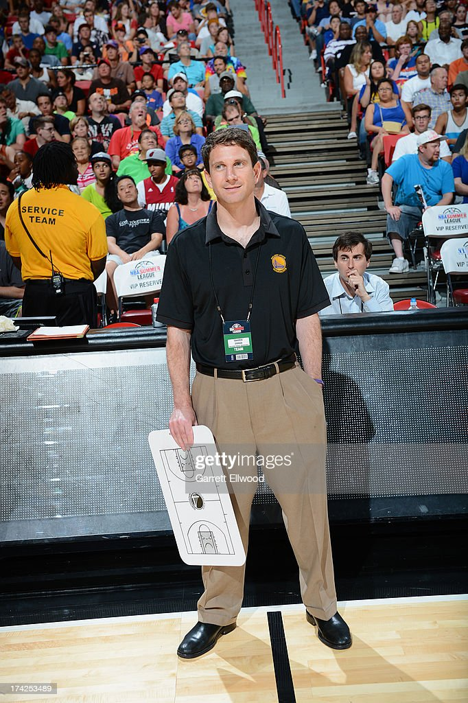 Head Coach Darren Erman of the Golden State Warriors looks on against the Phoenix Suns during NBA Summer League Championship Game on July 22, 2013 at the Cox Pavilion in Las Vegas, Nevada.