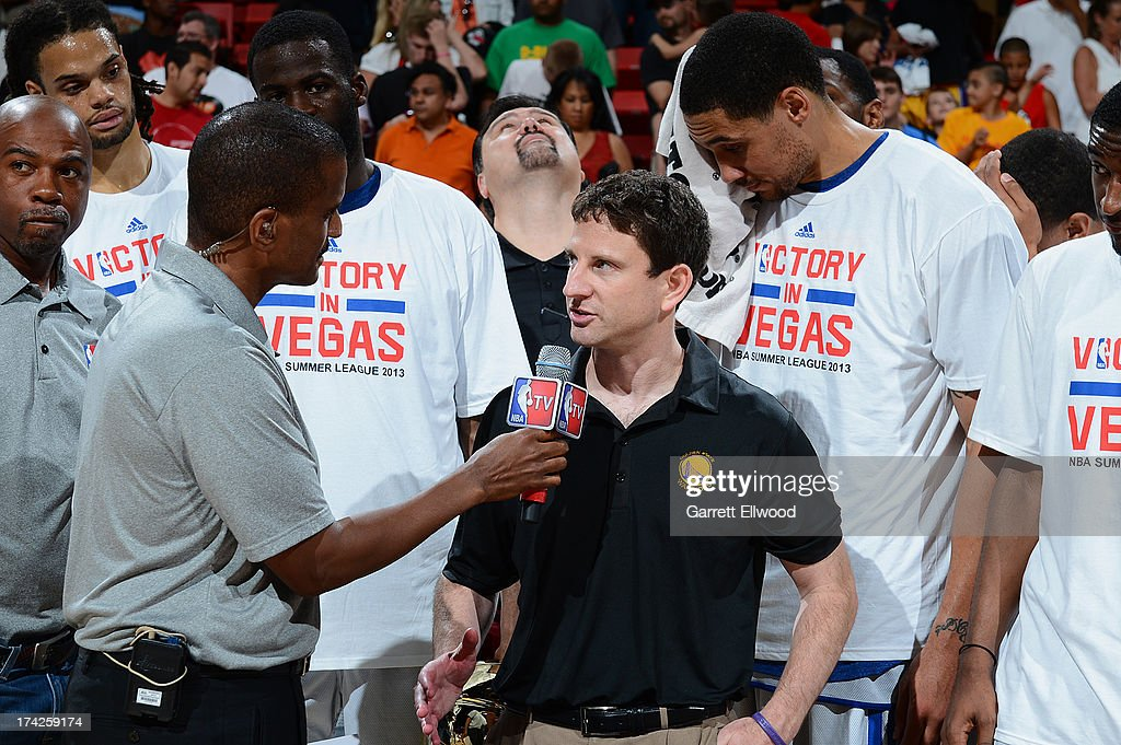 Head Coach Darren Erman of the Golden State Warriors speaks with NBA TV after the game against the Phoenix Suns during NBA Summer League Championship Game on July 22, 2013 at the Cox Pavilion in Las Vegas, Nevada.