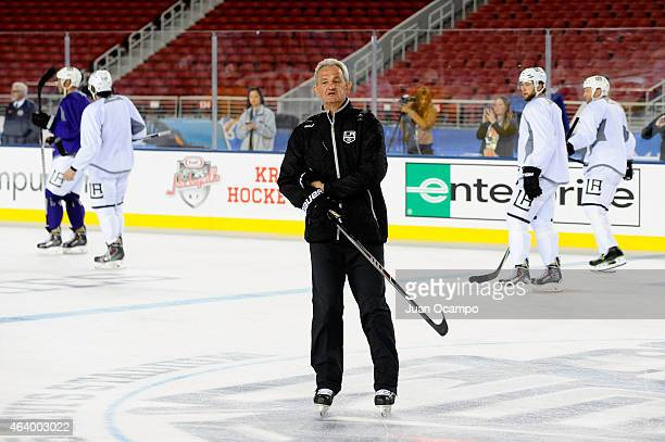 Head Coach Darryl Sutter of the Los Angeles Kings skates during practice a day prior to the 2015 Coors Light Stadium Series game between the Los...