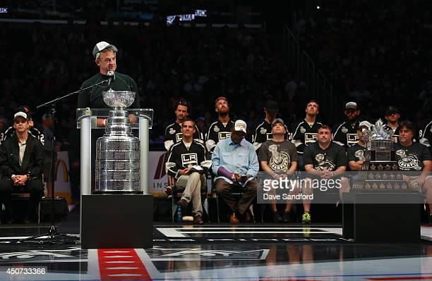 Head coach Darryl Sutter of the Los Angeles Kings speaks during the 2014 LA Kings Stanley Cup Championship Parade and Rally on June 16 2014 in Los...