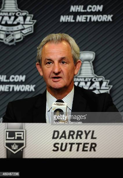 Head coach Darryl Sutter of the Los Angeles Kings speaks to the media after his team's 21 loss to the New York Rangers in Game Four of the 2014...