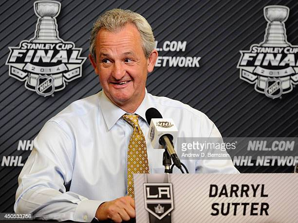 Head coach Darryl Sutter of the Los Angeles Kings speaks to the media after his team defeated the New York Rangers 30 in Game Three of the 2014...