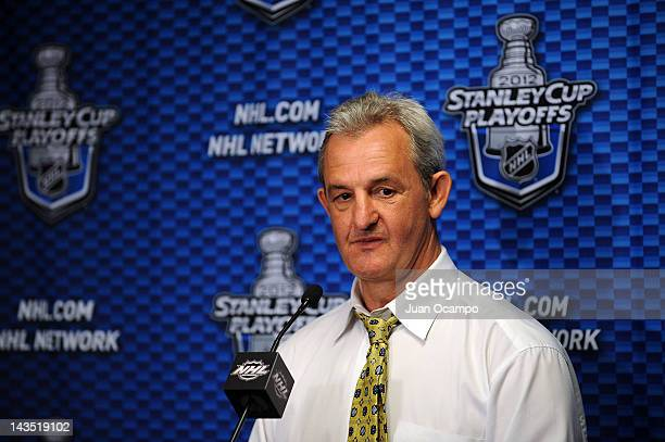 Head Coach Darryl Sutter of the Los Angeles Kings talks to the media following the game against the Vancouver Canucks in Game Four of the Western...