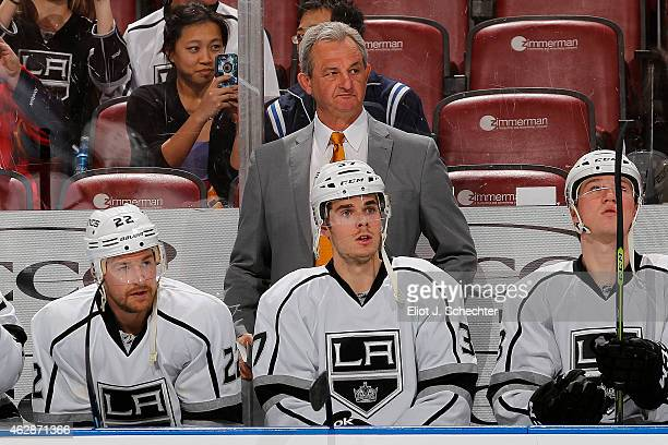 Head Coach Darryl Sutter of the Los Angeles Kings watches the action against the Florida Panthers at the BBT Center on February 5 2015 in Sunrise...