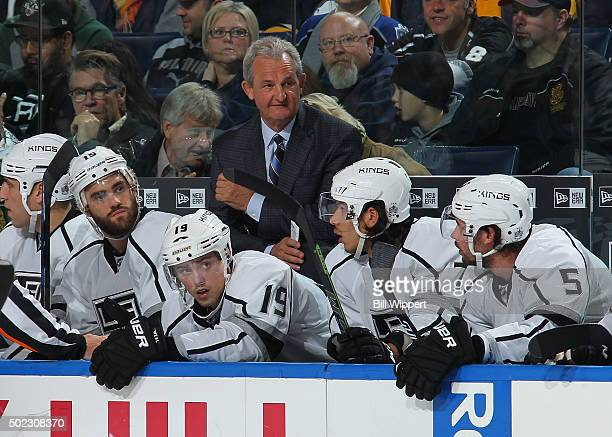 Head coach Darryl Sutter of the Los Angeles Kings watches the action against the Buffalo Sabres on December 12 2015 at the First Niagara Center in...