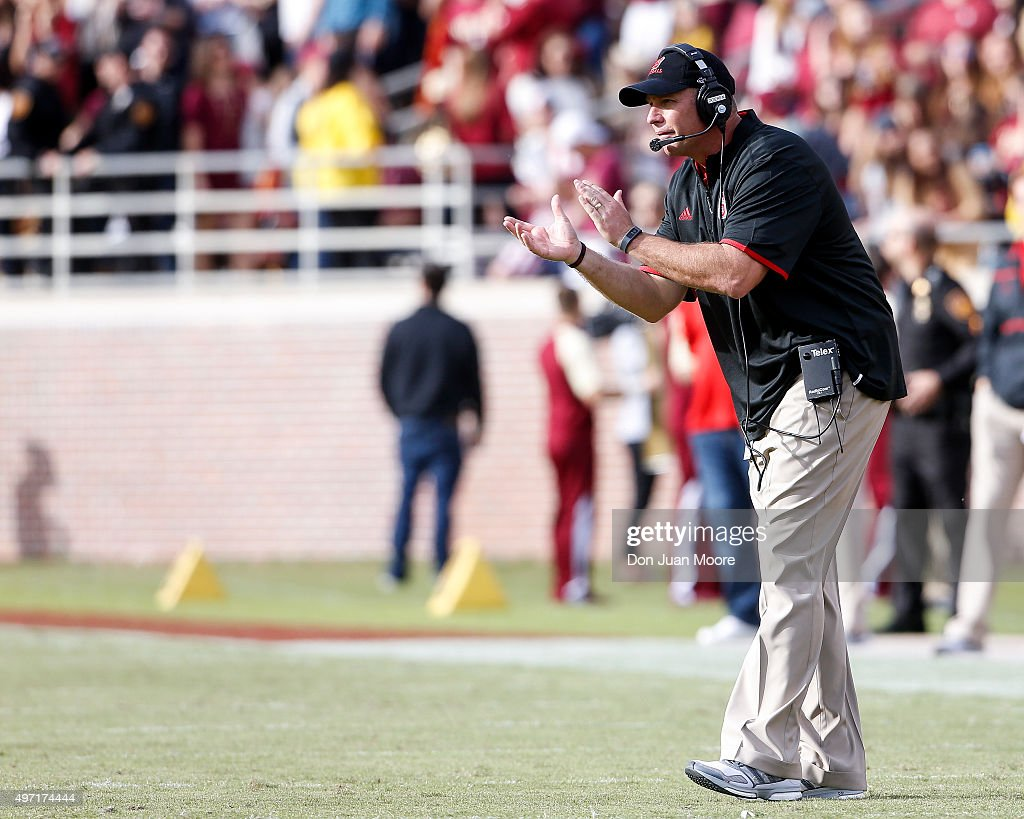 Head Coach <a gi-track='captionPersonalityLinkClicked' href=/galleries/search?phrase=Dave+Doeren&family=editorial&specificpeople=3913248 ng-click='$event.stopPropagation()'>Dave Doeren</a> of the North Carolina State Wolfpack during the game against the Florida State Seminoles at Doak Campbell Stadium on Bobby Bowden Field on November 14, 2015 in Tallahassee, Florida. Florida State defeated NC State 34 to 17.