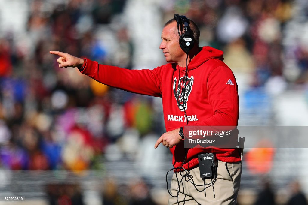 Head coach Dave Doeren of the North Carolina State Wolfpack gestures during the first half against the Boston College Eagles at Alumni Stadium on November 11, 2017 in Chestnut Hill, Massachusetts.