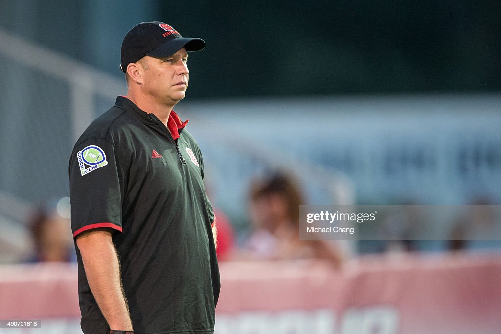 Head coach <a gi-track='captionPersonalityLinkClicked' href=/galleries/search?phrase=Dave+Doeren&family=editorial&specificpeople=3913248 ng-click='$event.stopPropagation()'>Dave Doeren</a> # of the North Carolina State Wolfpack prior to their game against the South Alabama Jaguars on September 26, 2015 at Ladd-Peebles Stadium in Mobile, Alabama.